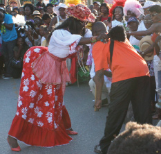 Mother Sally Dancing with a Spectator at Holetown Festival, Holetown, St. James, Barbados Pocket Guide