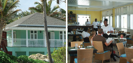 Extrior of an East Coast Hotel & a Waitress Serving Guests in the Dining Area, Barbados Pocket Guide