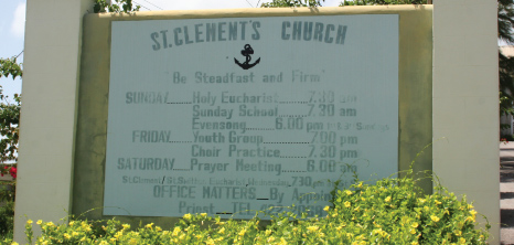 St. Clements Church Serivce Sign, St. Clements, St. Lucy, Barbados Pocket Guide