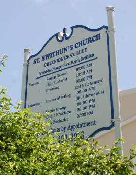St. Swithun's Church Service Sign, St. Swithun's Church, St. Lucy, Barbados Pocket Guide