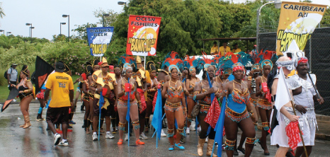 Revellers Parading Through the Streets at Crop Over Festival, Barbados Pocket Guide