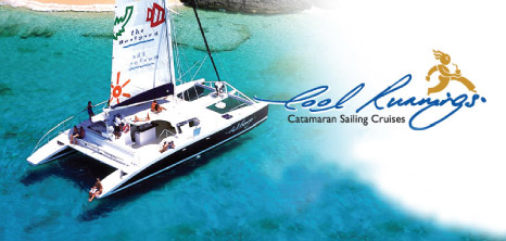 Cool Runnings Catamaran with Guests out on the Ocean, Barbados Pocket Guide