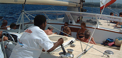 Guests Onboard El Tigre Sailing Cruises Relaxing While Listening to a Crew Member, Barbados Pocket Guide