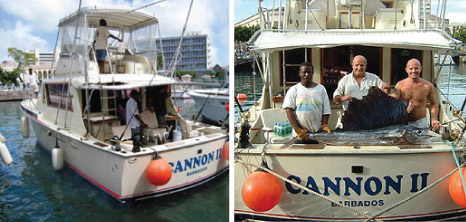 Crew Members On Board Canon Charters with their Catch of the Day, Barbados Pocket Guide