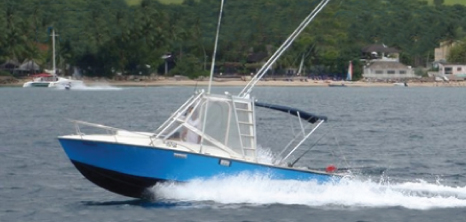 A Predator Sportfishing Vessel Heading Out to Sea, Barbados Pocket Guide