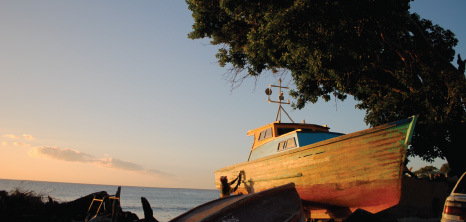 Barbadian Fisherman Sanding His Boat Against a Beautiful Sunset, Barbados Pocket Guide