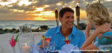Couple Having Dinner on the Beach at Sunset, Asiagos Authentic Italian Restaurant, Turtle Beach Resort, Dover, Christ Church, Barbados Pocket Guide