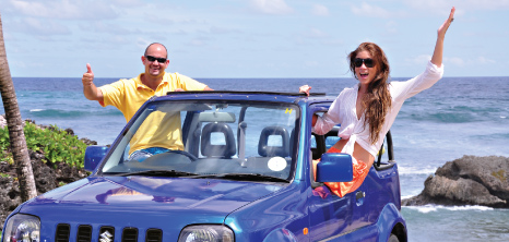Visitors Enjoying the Island With Their Rented Jeep, Barbados Pocket Guide