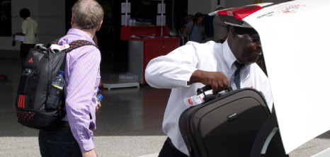Visitor to Barbados being collected from the Grantley Adams International Airport