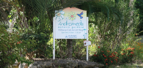 Sign at the Entrance of Andromeda Botanical Gardens, St. Joseph, Barbados Pocket Guide