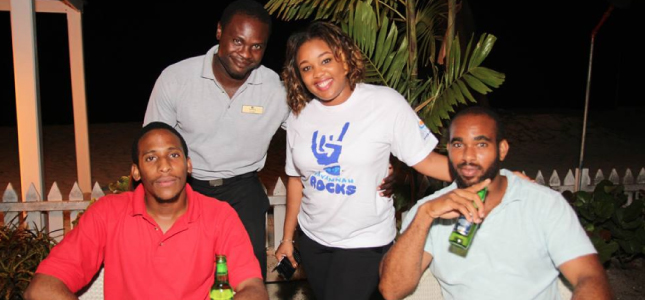Katisha Yearwood (third right) Operations Manager from Savannah Beach Hotel, liming with some of the patrons