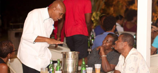 The Chef having a word with some of the patrons at Savannah Beach Hotel