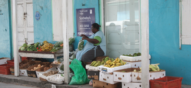 Vendor Selling Produce in historic Speightstown, Barbados