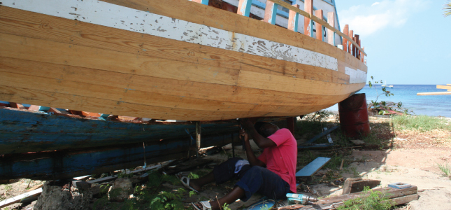 A Boat Builder Seen While Out on an Island Safari Tour