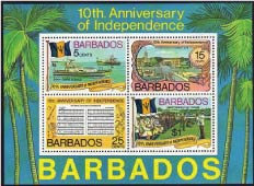 10th Anniversary of Independence Stamp, Barbados Pocket Guide