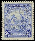Barbados Coat of Arms Stamp Showing King in Sitting Position, Barbados Pocket Guide