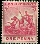 Barbados Coat of Arms Stamp Showing Queen in Sitting Position, Barbados Pocket Guide