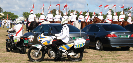 Barbados Police Force on Parade at the Historic Garrison Savannah, Barbados Pocket Guide