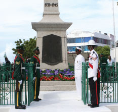 Wreaths Laid at the War Memorial, Bridgetown, In Honour of our War Veterans, Barbados Pocket Guide