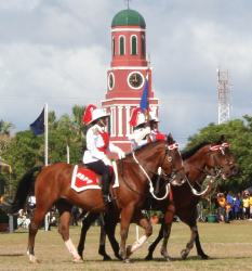 Mounted Police of the Barbados Police Force Parading at the Historic Garrison Savannah, Barbados Pocket Guide