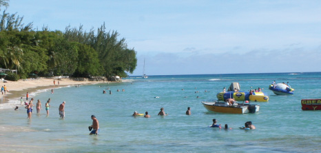 Visitors at Mullins Beach, St. Peter, Barbados Pocket Guide