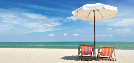 Umbrella & Chairs on the Beach, Barbados Pocket Guide