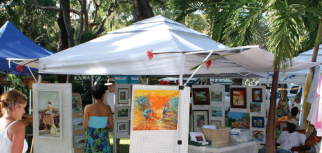 Artists Displaying Their Paintings at the Annual Harvest Garden Party at St. James Parish Church, Holetown, St. James, Barbados Pocket Guide