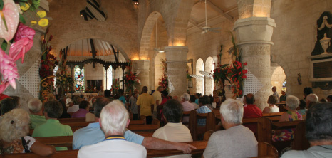 Visitors Enjoying a Flower Show at St. James Parish Church, Holetown, St. James, Barbados Pocket Guide