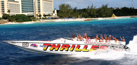 Visitors Enjoying a Thrilling Ride with Seafari Tours, Barbados Pocket Guide