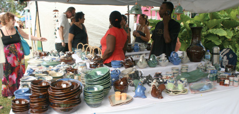 Pottery on Display at Holetown Festival, Barbados Pocket Guide