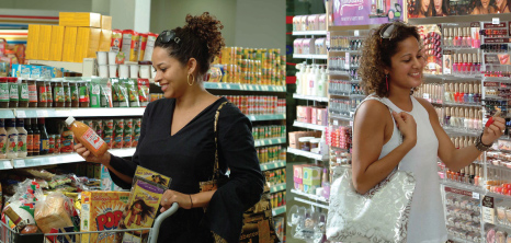 Ladies Shopping at iMart Convenience Store and Pharmacy, Barbados Pocket Guide