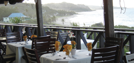 Breathtaking View of Dinner Tables Overlooking the Sea, Cliffside Restaurant, NewEdgewater Hotel, Bathsheba, St. Joseph, Barbados Pocket Guide
