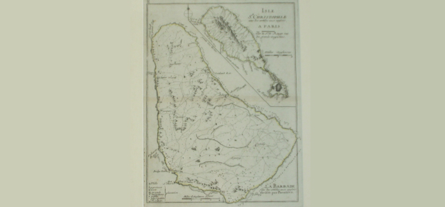 Antique Map of Barbados and St. Kitts, George Washington House, Barbados