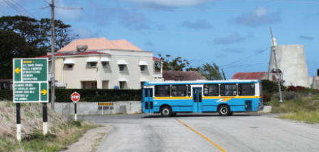 Transport Board Bus outside Portvale Plantations, St. Peter